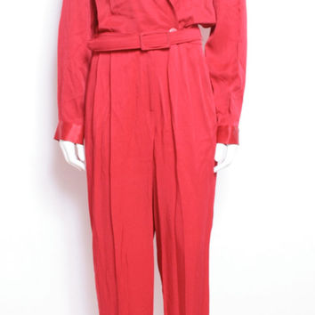 Bright Red Festive Long Sleeve Silky Jumpsuit Romper with Red Belt