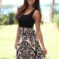 Black and Taupe Short Dress