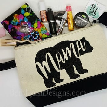 Mama Bear | Black GLITTER Design | Cosmetic Bag | Cute Tassel | Mom Gift | Planner Bag | Mother's Day | Carry All Bag | Zipper Canvas Bag