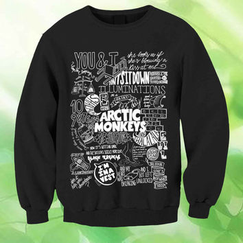 arctic monkeys lyrics collage  Jersey Style Unisex Sweatshirt Crewneck Men or Women Unisex Size
