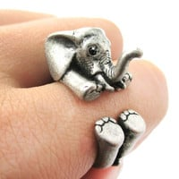 PRE ORDER: 3D Realistic Baby Elephant Animal Wrap Around Ring in Silver | US Sizes 5 to 8.5