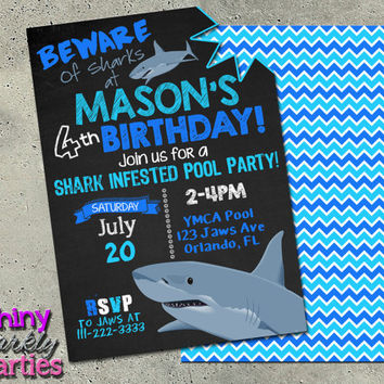 SHARK BIRTHDAY INVITATION Printable - Shark Pool Party Invitation - Shark Infested Pool Party Invite - Pool Party Invitation - Shark Party