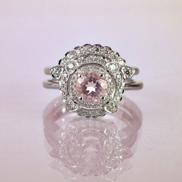 Morganite Engagement Ring With Side Diamond Band, Engagement Set Rings, Unique Engagement Ring , Vintage Engagement Ring , Wedding Set Ring
