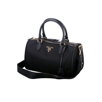 Prada Women's Bauletto Baguettes Nylon and Leather Black Handbag with Removable Strap 1BB797