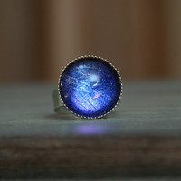 Tardis Blue Inspired 16mm Antique Silver Ring