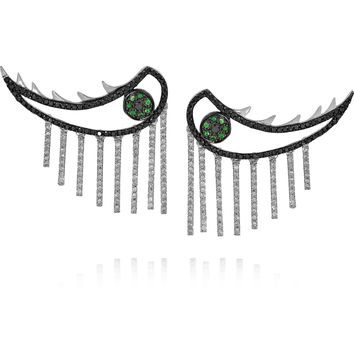 Ileana Makri - Weeping Eyes 18-karat white gold, diamond and tsavorite earrings