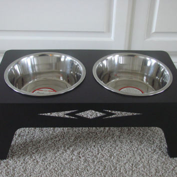 Aztec Designer Dog Food Bowl 14 Gauge Metal Standing Feeder