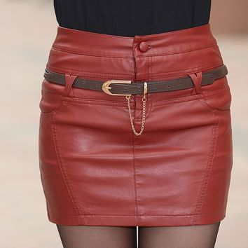 Skirts womens new fashion high quality skirts female Mini leather skirt women S-3XL