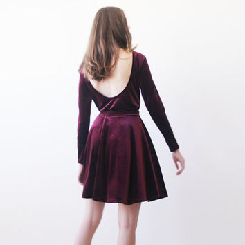 Mini velvet burgundy skater skirt, Mini velvet skirt, Burgundy party skirt