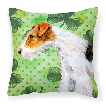 Fox Terrier St Patrick's Fabric Decorative Pillow BB9824PW1414