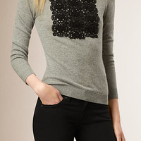 Lace Detail Cashmere Cotton Sweater