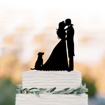 Bride and groom wedding cake topper with dog, birthday cake topper,  anniversary gift, funny wedding cake topper, family