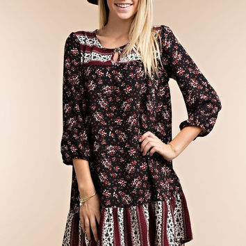 Multi Print Floral Dress - Black