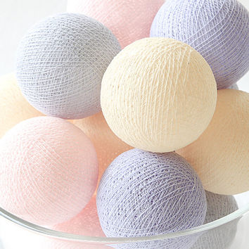Sweet Lavender Pastel Lavender Pink Grey Cream 20 Handmade Cotton Ball Patio Party String Lights – Fairy, Wedding, Holiday, Home Décor