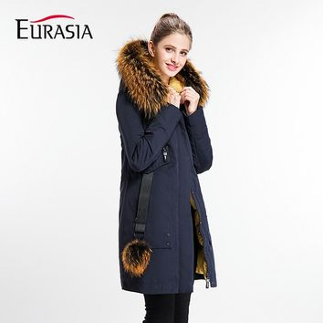 EURASIA 2017 New Brand Womens Coat Long Lady Winter Parkas Style Jackets Real Fur Collar