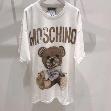 DCCKVQ8 Moschino' Women Casual Fashion Cute Bear Pattern Print Short Sleeve T-shirt Top Tee