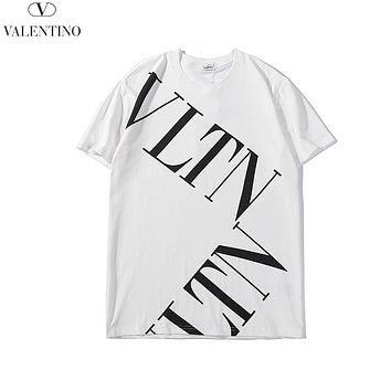 Valentin 2019 new twill letter printed round neck half sleeve t-shirt white