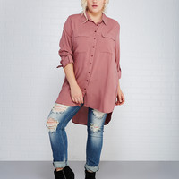 Soft Flap Pocket Shirt With High-Low Hem | Wet Seal+