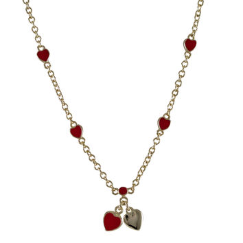 Red Enamel Hearts, Gold Plated Brass Chain Necklace, 15