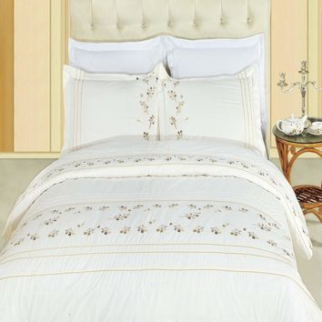 Tasneen Combed cotton Embroidered Duvet Cover Set