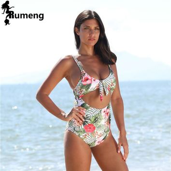 RUMENG 2018 New One Piece Swimwear Women Sexy High Waist Swimsuit Backless Hollow Out Monokini Print