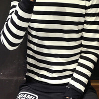 Black and White Stripe Ribbed Trim Pullover Sweatshirt
