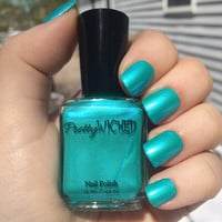 Aqua Nail Polish, Metallic Aqua Nail Polish, Greenish Blue Nail Polish, Mermaid Nails, Blue Green Nail Polish