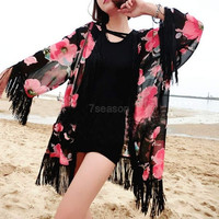 New Summer Women Floral Loose Tassels Shawl Kimono Cardigan Coat Jacket Top  7_S (Size: One Size, Color: Black) = 1916471428