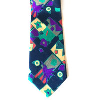 Peacocks Tie Birds Geometric Print Purple Green Red Loud Colorful Mens Necktie