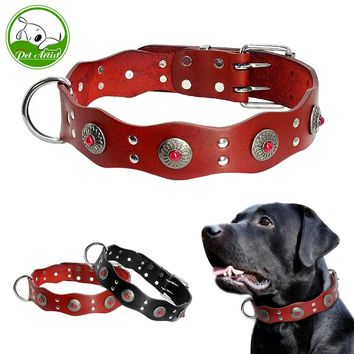 Durable Genuine Leather Dog Collar Handmade Adjustable Pet Basic Collars Black Brown For Medium Large Dogs Pitbull