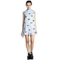 EYES PRINT SLEEVELESS DRESS