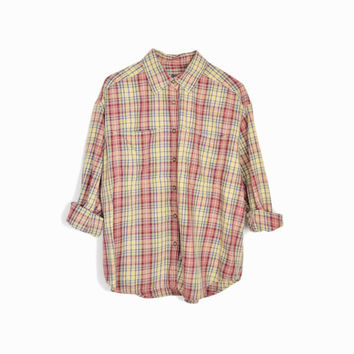 Vintage Flannel Plaid Work Shirt in Burgundy & Cream