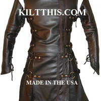 The Baddy Utility Kilt Black Leather Suit The Double Cross Leather Sleeves Vest and Kilt Adjustable Custom Interchange Parts
