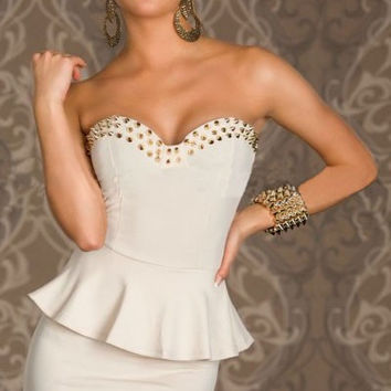White Studded Sweetheart Neckline Peplum Mini Dress