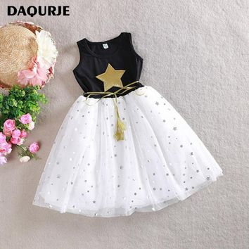 DAQURJE Summer Girls Dress Casual Sleeveless Sequin Star Kids Dresses For Girls 3-10Y Mesh Tutu Princess Dress Children Clothes