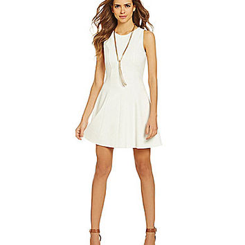 Gianni Bini Eloise Ponte Knit A-Line Dress - White