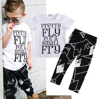 T-Shirt Tops + Trousers Pants Casual Clothing Fashion Outfits Set Summer 2016 Toddler Kids Baby Boys Clothes Sets Short Sleeve