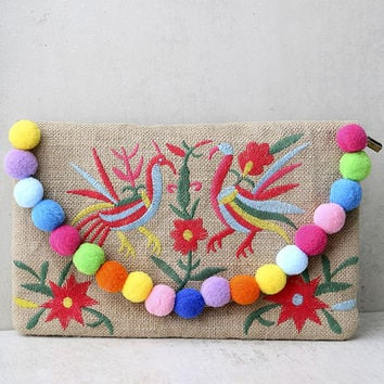 Fanciful Beige Embroidered Pompom Clutch