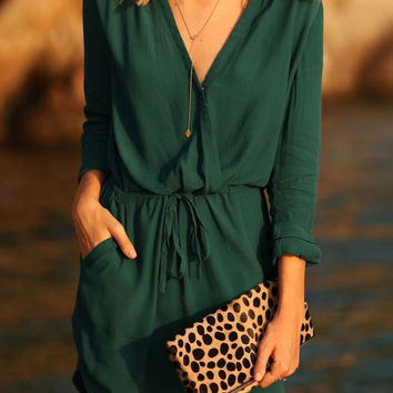 2016 Autumn Green V-neck Long Sleeve Elastic Waist  A-line Dress