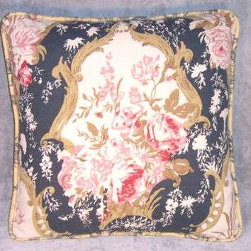 "Indigo and Pink Floral Throw Pillow Chris Stone Reversible Gold Toile 17"" Square Cotton Roses Cover and Insert Ready Ship"