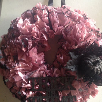 Decorative, Dyed Coffee Filter Halloween Themed Wreath