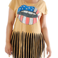Plus-Size Lips Americana Fringed Tee - Rainbow