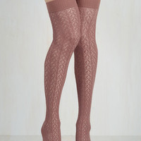 To the Pointelle Thigh Highs in Mauve Size OS by ModCloth