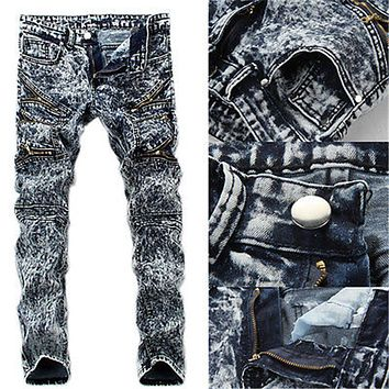 Men\\\'s Slim Skinny Runway Straight Elastic Denim Pants Destroyed Ripped Jeans Pants Men clothes