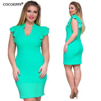COCOEPPS 2017 Summer Plus Size 6XL Women Ruffles Dresses Femme Evening Party Office Dress Femme Big Large Size clothes  4XL 5XL