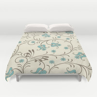 Soft Blue and Brown Swirly Abstract Duvet Cover by pugmom4