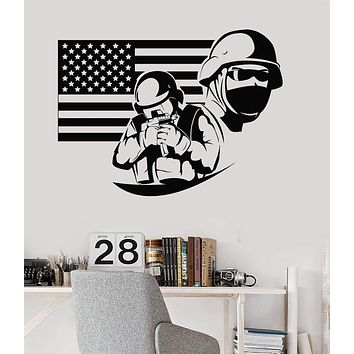 Vinyl Wall Decal American Flag Soldier Military War USA Patriotic Decor Stickers Unique Gift (ig3629)
