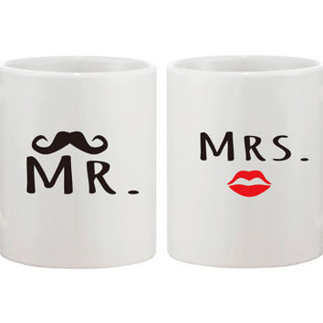 Mr and Mrs His and Hers Matching Coffee Mug Set - Perfect Wedding and Engagement Gift for Newlyweds and Valentine's Day Gift For Couples.