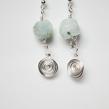 Pale green agate druzy silver wire earrings, Hand wound spiral jewelry, UK seller