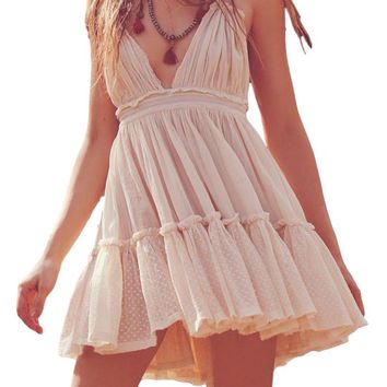 BOHO Designer Inspired Ivory Ladies Spring/Summer Multi Ruffle Halter Dress